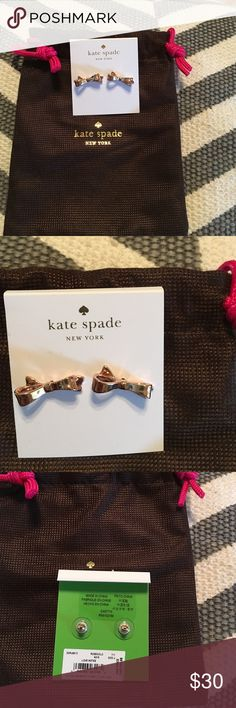 NWT, Authentic Rose Gold Color Bow Earrings, Firm$ Brand new with dust bag, never worn, rose gold color, Love Note style, price firm! kate spade Jewelry Earrings