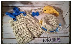 Fishing Set Crochet Newborn to 12 month made to by BeccasBeanies