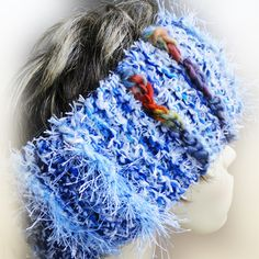 Luxury Blue Chunky Headband. This chunky head band is extremely warm to wear and a great and stylish alternative to a bobble hat