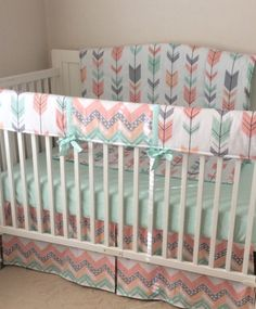 Bumperless Peach Gray and Mint Arrows Crib by butterbeansboutique