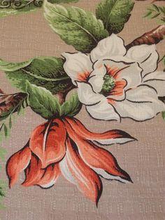 Vintage 1940's - Floral Barkcloth