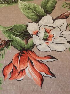 Vintage 1940's Floral Barkcloth