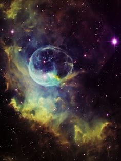 "Bubble Nebula (NGC 7635) | ""It is literally a cavity, an evacuated region, left behind as the stellar wind from the star expands. It's huge, roughly 10 light years across. That's 100 trillion kilometers (60 trillion miles), hundreds of thousands of times the size of our entire solar system."" 