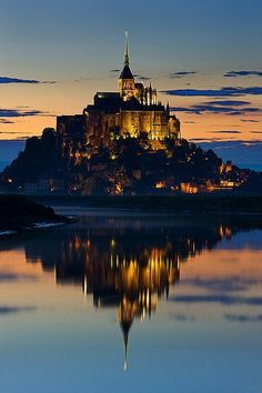 View of the Abbey on Mont Saint-Michel - a rocky tidal island  in Normandy, France. on the itinerary for summer 2014
