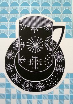 Work by Jan Brewerton titled 'Totem Tea' Cool Artwork, Amazing Artwork, Cut Out Shapes, Illustration Sketches, Illustrations, Tampons, Linocut Prints, Coffee Break, Coffee Time
