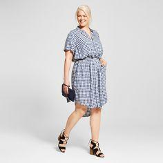 Women's Plus Size Plaid Short Sleeve Shirtdress Blue 2X - Ava & Viv