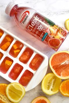 Add a little flavor to your water + of protein with these protein infused ice cubes! Add a little flavor to your water + of protein with these protein infused ice cubes! Premier Protein Shakes, Best Protein Shakes, Protein Shake Recipes, Protein Snacks, Smoothie Recipes, Bariatric Eating, Bariatric Recipes, Bariatric Surgery, Healthy Drinks