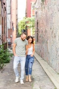 Engagement photos in an alley outside of the Painted Bride Art Center in Old City Philly-we love the mosaic walls! #engagementsession #engagementshoot #phillyengagement