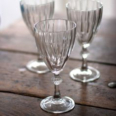 Wine Glasses - Faceted Design from The Other Duckling. These gorgeous wine glasses are nothing short of brilliant. Super sparkly with their faceted sides & twinkly stem.