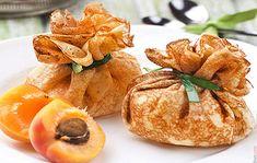 Aumoniere de crepe à l'abricot, chocolat blanc et amandes   Recettes-Bretonnes