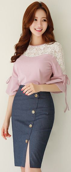 Blush blouse w/ cream lace neckline & flared stringy sleeves, watermelon smile & nails, auburn hair, large-buttoned sheath skirt