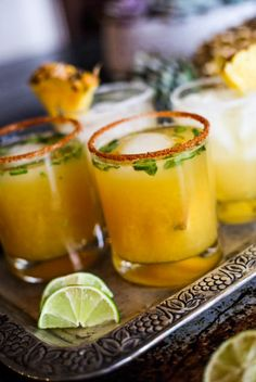 recipe alert! fresh spicy pineapple margs + passionfruit lemon margs. Plant-based #vegan recipes. #purekitchenblog