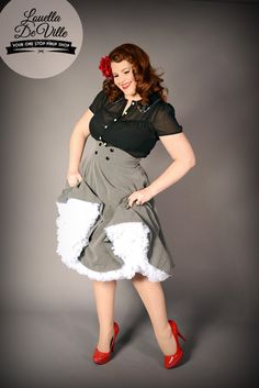 Chic Star Grey Rockabilly Swing Skirt (Also Plus Sizes!) Skirt Design by Amber Middaugh