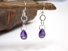 Purple Drop Earrings Crystal Cubic Zirconia by JeanineDesigns, $26.00