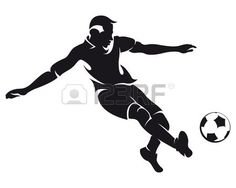 vector football (soccer) player running silhouette with ball isolated photo