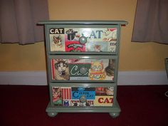 VINTAGE PAINTED WOODEN CHEST OF 3 DRAWERS shabby chic DECOUPAGE