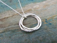 Sterling silver triple entwined rings necklace - hammered and smooth circles, sister gift, best friend gift.