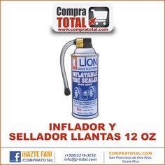 #CompraTotal - #HerramientaManualCostaRica INFLADOR Y SELLADOR LLANTAS 12 OZ