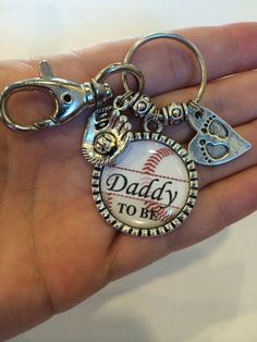 Daddy to be keychain, Personalized Gift, Baby Shower, First Baby, Pregnancy Announcement, key chain, Dad, Baseball on Etsy, $20.50