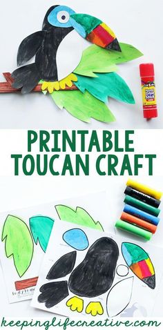 Printable toucan craft template for your rainforest theme! Such a fun and colorful project for kids. Rainforest Crafts, Rainforest Activities, Rainforest Project, Jungle Crafts, Rainforest Theme, Bird Crafts, Animal Crafts, Rainforest Classroom, Rainforest Animals