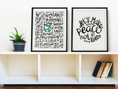 Get some good vibes with this cool inspirational poster print. Achieving world peace may not be easy but it helps to spread some positive
