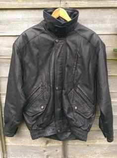 Black Suede Leather Unisex Jacket, Vintage Jacket, Bomber Jacket, 1960s Style Jacket, Size Men Small, Unisex, Black, Leather Jacket, Size S