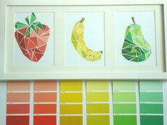 Use spare paint chips to make geometric art.Hmmmm, mixed feelings about taking paint chips for art, but very cool project.Grab 2 chips in similar shades, cut out triangles and use glue to secure. Frame and enjoy the fabulousness!Grab a few paint swatches Paint Swatch Art, Paint Chip Art, Paint Swatches, Paint Sample Art, Art Diy, Diy Wall Art, Crafts To Do, Paper Crafts, Diy Crafts