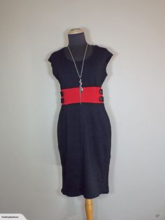 Four Girlz | Black Stretch Dress with Red Waist Inserts (12-14) | Trade Me Nice Dresses, Dresses For Work, Enlarge Photos, Close Up Photos, Stretch Dress, Stretches, That Look, High Neck Dress, Fashion Outfits