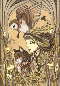 Anita Inverarity | INK on illustration board | Harmony - 3 Of Charms
