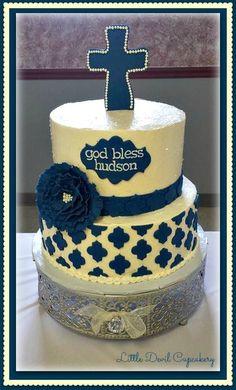 Baby boy baptism cake, navy and cream, fondant cross and flower