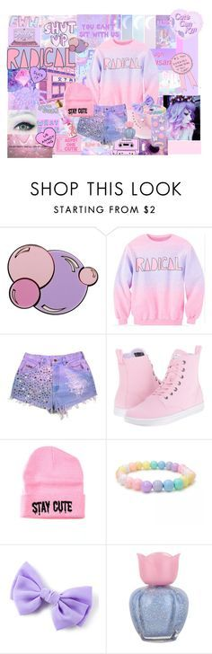 """Pastel goth"" by rebecca41622 ❤ liked on Polyvore featuring E.vil, cutekawaii, INDIE HAIR, Yazbukey, Dr. Martens, Stay Cute and Forever 21"