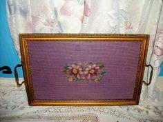 Antique Needlepoint Chic Vanity Tray Shabby Art Deco Cottage Paris Apt Roses | eBay