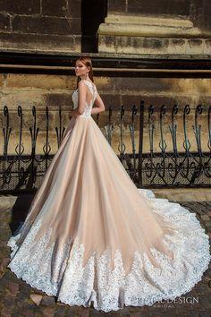 crystal design bridal 2016 sleeveless embellished semi sweetheart neckline lace bodice champagne color princess a  line ball gown wedding dress illusion back royal train (ariel) sdv