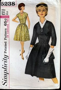 Simplicity 5238 Misses' and women's One-Piece Dress  Both V's feature an A line skirt which has 2 soft pleats each side of an inverted pleat at centre front and darts in back, fitted bodice with a V n