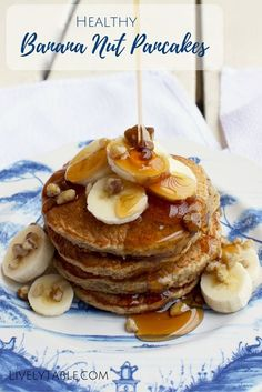 Banana Nut Pancakes| Fluffy, healthy whole grain banana nut pancakes made with heart healthy walnuts are the perfect satisfying weekend breakfast! Easy to make with real ingredients and a gluten free option. | Via LivelyTable.com @LivelyTable