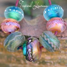 Tropical Laurasia Lampwork Rounds Enjoy designing your gorgeous handcrafted jewelry with this graduated set of seven glass round beads handmade with the finest Italian Glass Glossy and matte mix with Handmade Beads, Handmade Silver, Handcrafted Jewelry, Jewelry Making Beads, Cute Jewelry, Beaded Jewelry, Swarovski Jewelry, Dainty Jewelry, Etsy Jewelry