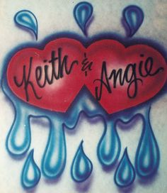 Airbrush Couple Design with Two Hearts and Drips. $17.00, via Etsy.