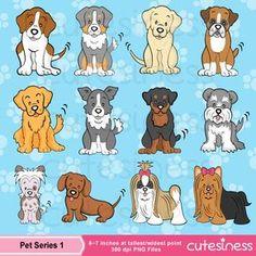 Dog Digital Clipart, Dog Clipart, Puppy Clipart, Puppy Dog Clipart, Cute Puppy…