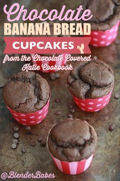 Chocolate Banana Bread Cupcakes from the Chocolate Covered Katie Cookbook via @BlenderBabes | Somewhere between cupcake and muffin, these delicious and nutritious chocolate banana bread cupcakes smell like banana bread baking and taste like banana-chocolate heaven! Yum!