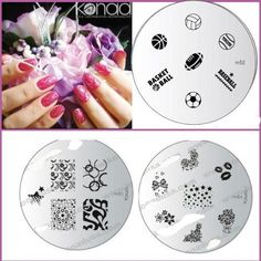 Konad Nail Art 3x Image Plates - M52, M84, M85  A-viva Nail Kit (Buffer file) red Boxsports, Flowers, Butterfly's, Swirls   Kisses Designs *** Click image for more details.