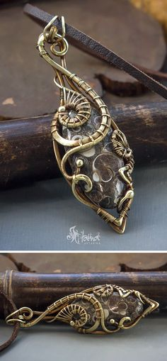 Steampunk wire wrapped brass pendant // Steampunk jewelry // Victorian jewelry // Fantasy jewelry