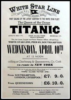 Art Print Titanic Maiden Voyage Advert Poster 1912 - Print 8 x 10 Rms Titanic, Titanic History, Vintage Advertisements, Vintage Ads, Vintage Posters, Original Titanic, Titanic Poster, Vintage Newspaper, Advertising Poster