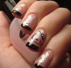Elegant Glamorous Hello Kitty Nails Art
