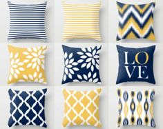 Navy Yellow Pillow Covers Decorative Pillows by HLBhomedesigns