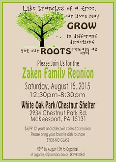 Family Reunion Invite   PRINTABLE DIGITAL INVITATION  Free Printable Family Reunion Invitations