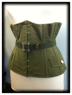 I have been wanting to do a military corset for a while - this under bust corset is stunning! from BoomBoomBabyBoutique on Esty
