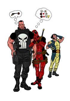 Punisher,Deadpool & Wolverine by Darick Robertson Deadpool Love, Deadpool Wolverine, Deadpool Funny, Punisher Marvel, Marvel Vs, Marvel Dc Comics, Daredevil, Comic Book Characters, Comic Character