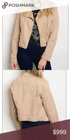 COMING SOON! Zip-up Moto Jacket Color: taupe Fabric: 100% cotton Jackets & Coats