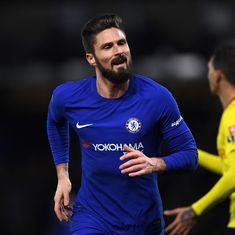 Olivier Giroud makes his Chelsea debut