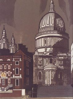 Edward Bawden: 'St Paul's Cathedral', 1966 (linocut). One in the series 'Nine London Monuments', which was commissioned by Editions Alecto.